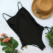 One-Piece Solid Straps Swimwear
