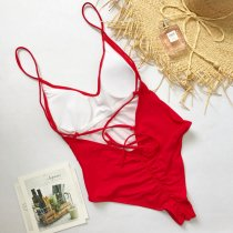 Plain Color One-Piece Straps Swimwear