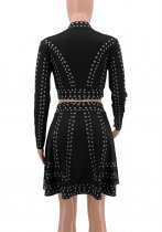Black Bead Two-Piece Chic Dress