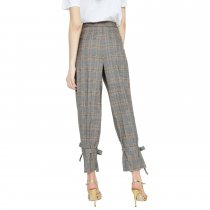 Casual Plaid Trousers with Tied Hem