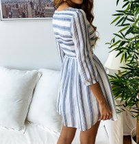 Casual Stripped Skater Dress with 3/4 Sleeves