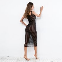 Black Mesh Strippes Midnight Dress