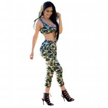 Green Camou Bra Top and Matching Trousers