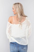 White Hollow Out Knit Top
