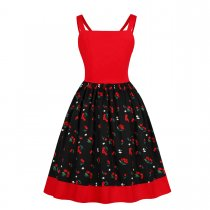 Red and Black Strawberry Vintage Dress