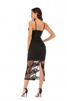 Black Lace Straps Long Party Dress