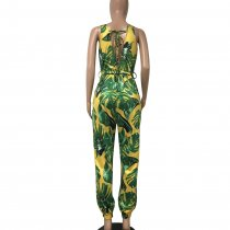 Print Green V-Back Sleeveless Jumpsuit