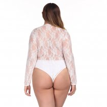 Plus Size Manga Comprida Renda Teddy Lingerie