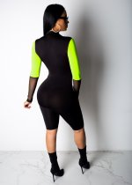 Contrast Active Long Sleeve Mid-Length Jumpsuit
