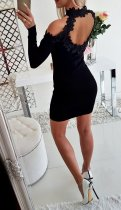 Open Shoulder Lace Detailed Long Sleeve Mini Dress