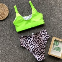 Leopar Print Two-Piece High Waist Swimwear