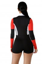 Block Color Long Sleeve Sports Rompers