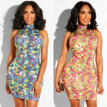 Rhinestone Colorful Scoop Dress