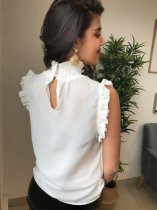 White Ruffles Sleeveless Chic Blouse