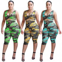 Print Camou Sleeveless Mid Jumpsuit