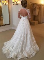 White Lace Long Sleeve Weddding Dress