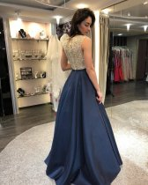 Two-tone Sleeveless Sequins Evening Dress