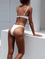 Two-Piece White Simple Swimwear