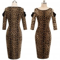 Open Shoulder Leopard 3/4 Sleeves Pencil Dress