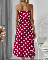 Strapless Polka Wrapped Long Dress