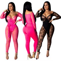 Print Sexy Long Sleeve Mesh Jumpsuit