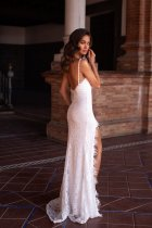 High Cut White Lace Straps Evening Dress