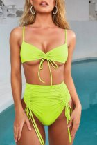 Solid Color High Waist Ruched Swimwear