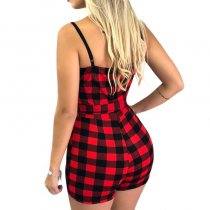 Plaid Print Straps Wrap Rompers