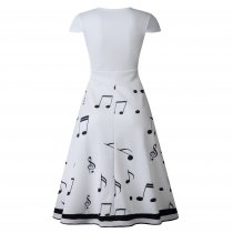 Print White Long Skater Dress