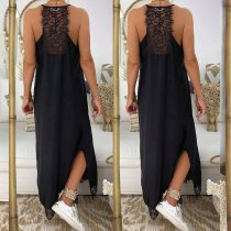 Black Halter Long Dress with Lace Details
