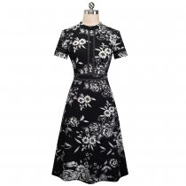 Short Sleeves O-Neck Floral Vintage Dress