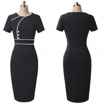 Short Sleeve Round Neck Slimming Office Dress