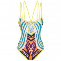 One-Piece Print Lace Up Swimwear and Cover Up