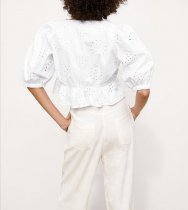 White Hollow Out V-Neck Chic Top