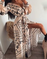 Print Wrap Maxi Dress with Full Sleeves