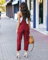 Casual Plain Bib Pants