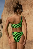 One Shoulder Two-Piece Zebra Swimwear