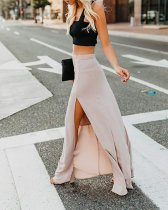 Casual Long Slit Sheer Skirt
