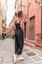 Casual Black Polka Straps Jumpsuits