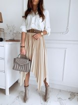 Casual Pleated Irregular Maxi Skirt