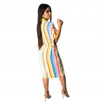 Colorful Stripped Plung Beach Dress