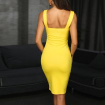 Wide Straps Yellow Party Dress