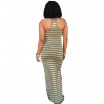 Casual Stripped Halter Long Dress