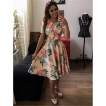 Elegant Floral Skater Dress with Belt