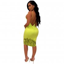 Sexy Backless Print Green Straps Bodycon Dress