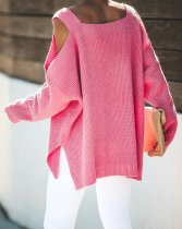 Roze Loose Fitting Uitgesneden Pullover Sweater