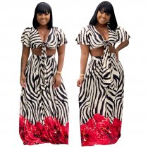 Print Zebra Sexy Top and Maxi Skirt