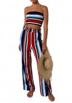 Multi-Color Stripped Strapless Top and Pants