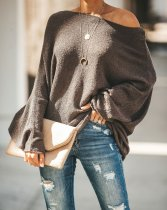 Loose Brown Sweater Top with Wide Sleeve