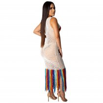 Sleeveless Fishnet Beach Dress with Tassels Hem